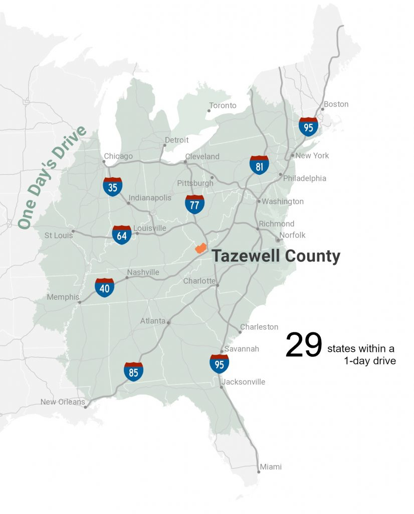 Tazewell County One Day Drive Map